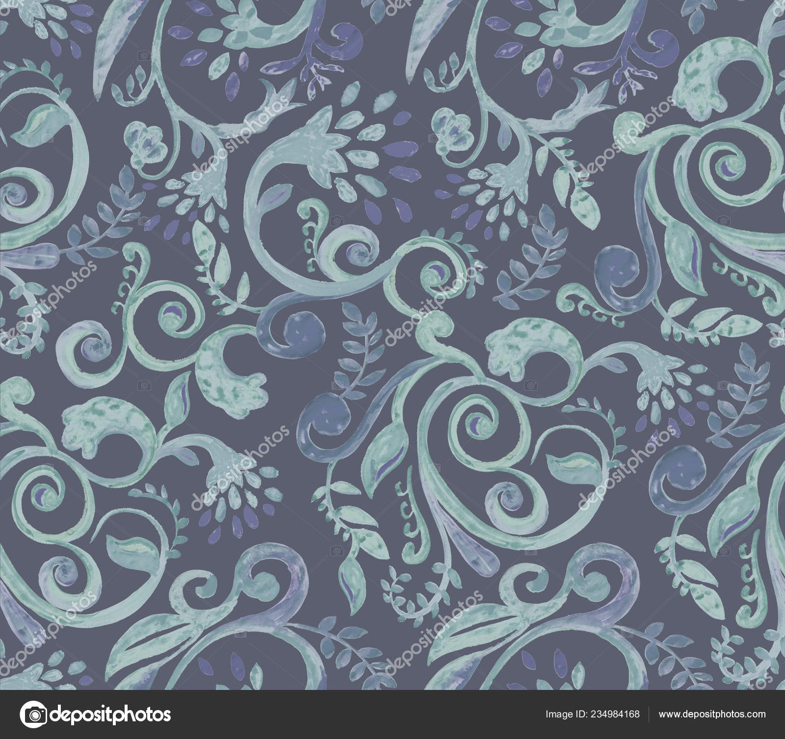 Dark Green Floral Pattern On Blue Background Hand Made Watercolor