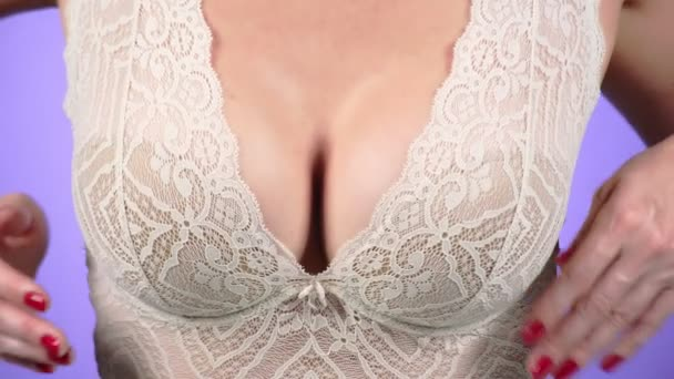 Topless beauty woman body covering her breast. close-up. 4k, slow motion