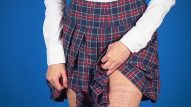 Midsection of teenage girl, cheat sheet written on hips hidden under a skirt. 4k, close-up, blue background, slow-motion shooting.