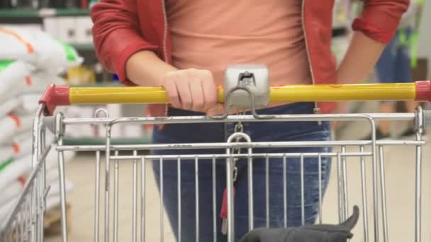 A woman in a supermarket is passing by the basket past the counters. 4k