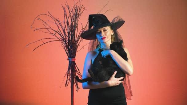 schöne junge sexy Frau in einem schwarzen Hexenkostüm und Hut mit einem Besen und einer schwarzen Katze in ihre Hände in die Kamera schauen und Lächeln auf den Lippen. Textfreiraum. 4k, Slow-motion