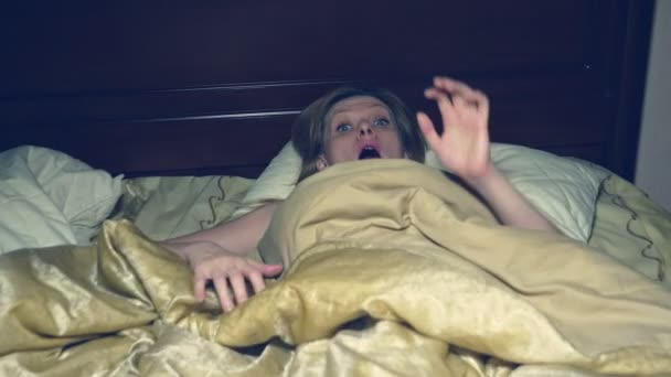 horror. in horror, the girl wakes up at night in her bed and runs away from her investigator.