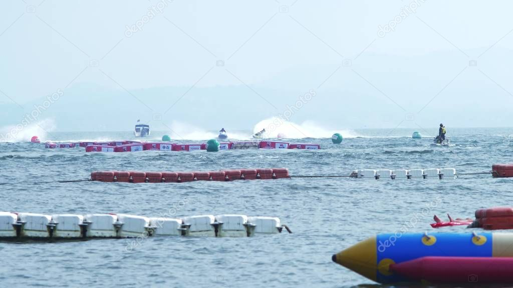 Water sports. Aquatics motorsport competitions in Thailand, in the city of Pattaya, December 7, 2018.