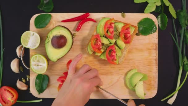 avocado. concept of healthy eating and healthy lifestyle. view from above. cooking avocado sandwiches.