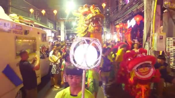 Pattaya THAILAND - FEBRUARY 05, 2019: Group parade of the golden dragons exhibition on walking street during the Chinese New Year celebrations.