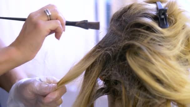 Pojetí profesionálního zbarvení vlasů. Žena v kadeřnictví barví vlasy
