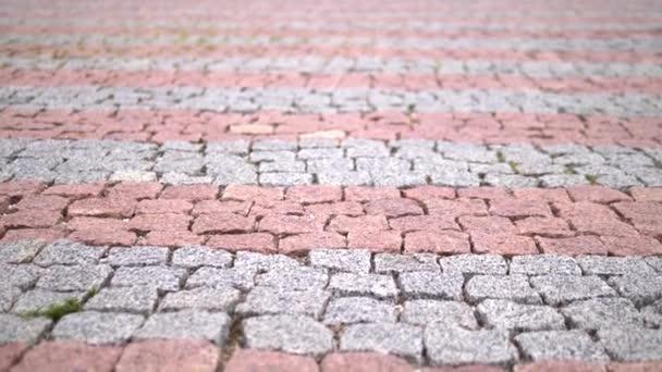 Close-up. Dlažbu červeného kamene. moderní dlaždice