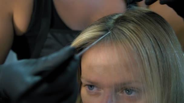 Közeli. a haj festése fogalmát. hajfestékek a nő haját egy ecsettel
