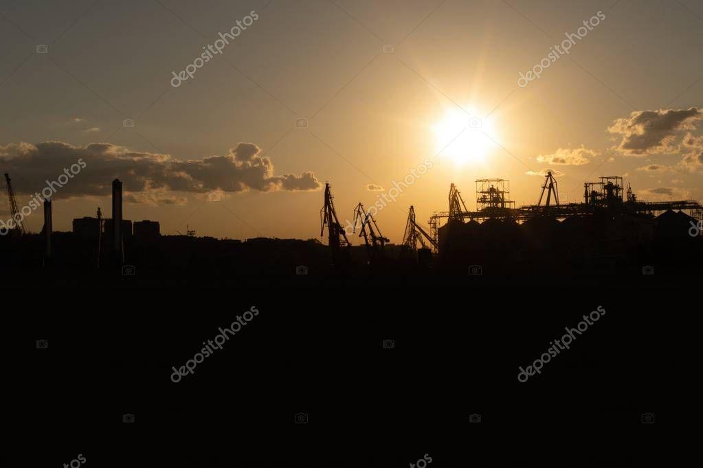Cargo Port silhouette on the Black Sea coast