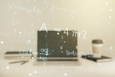 Creative scientific formula hologram on modern laptop background, research concept. Multiexposure