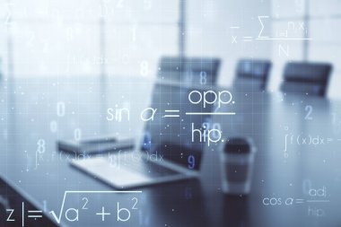 Creative scientific formula hologram on modern laptop background, research concept. Multiexposure