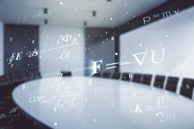 Double exposure of scientific formula hologram on a modern meeting room background, research and development concept