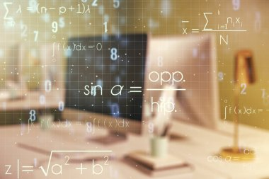 Creative scientific formula concept on modern laptop background. Multiexposure