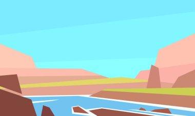 Low poly landscape. River. Horizontal vector illustration