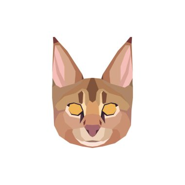 Low poly Chausie head. Vector illustration icon