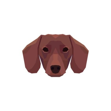 Low poly Dachshund head. Vector illustration icon