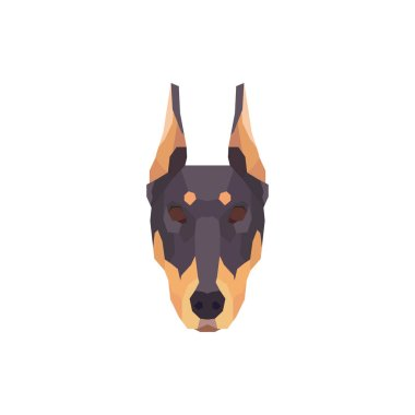 Low poly Doberman head. Vector illustration icon