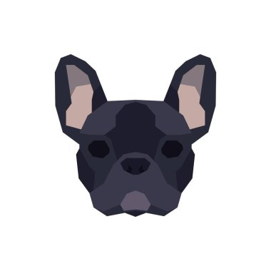Low poly French Bulldog head. Vector illustration icon