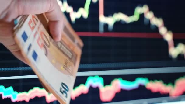 Börsencrash, Bankrott und Finanzkrise während der weltweiten Coronavirus-Pandemie. Instabile Charts auf und ab, Währung und Aktien verlieren am Weltmarkt an Wert. Börse