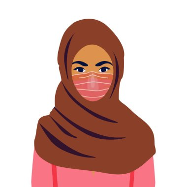 Muslim girl in a mask. COVID-19 conceptual vector illustration. Protection against coronavirus or respiratory virus. Prevention of respiratory tract infections. icon