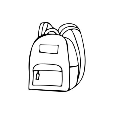 Doodle school bag icon in vector. Hand drawn school bag icon in vector