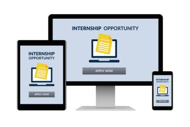Internship concept on electronic devices isolated on white background
