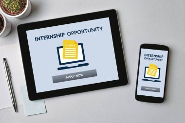 Internship concept on tablet and smartphone screen