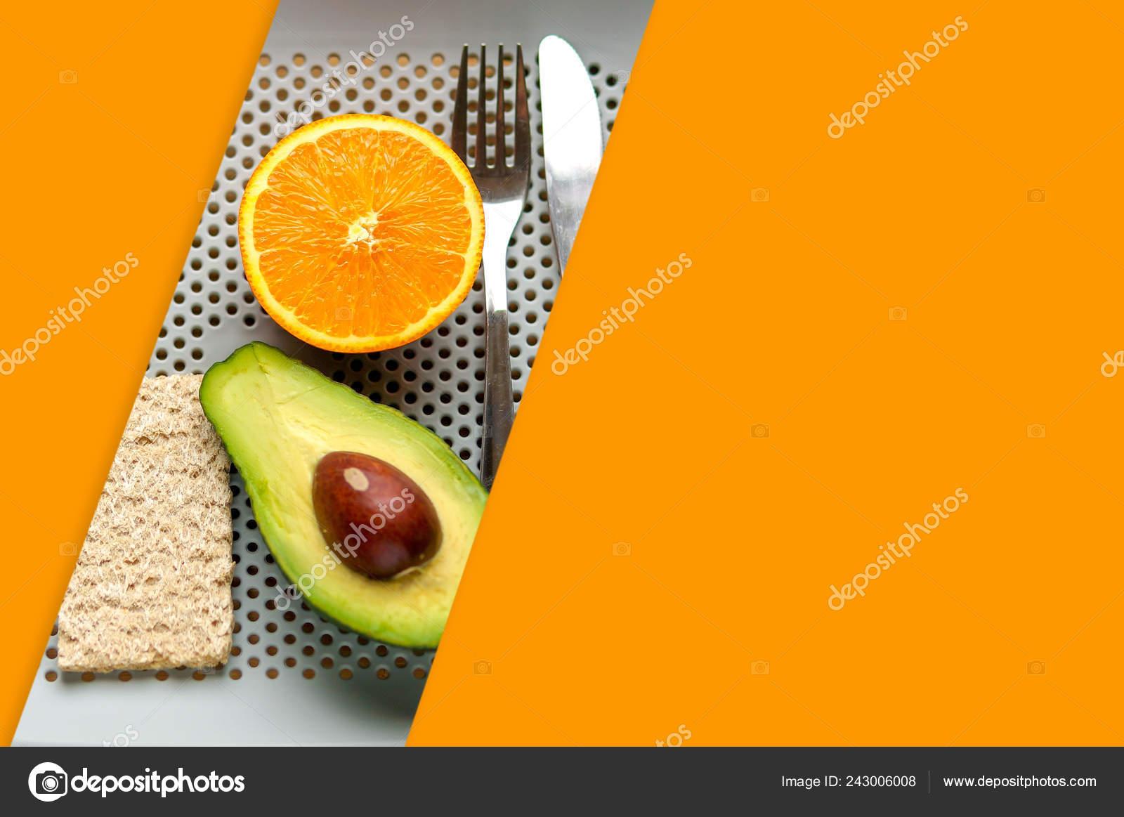 Good Morning Healthy Breakfast Orange Avocado Minimal Style Stock