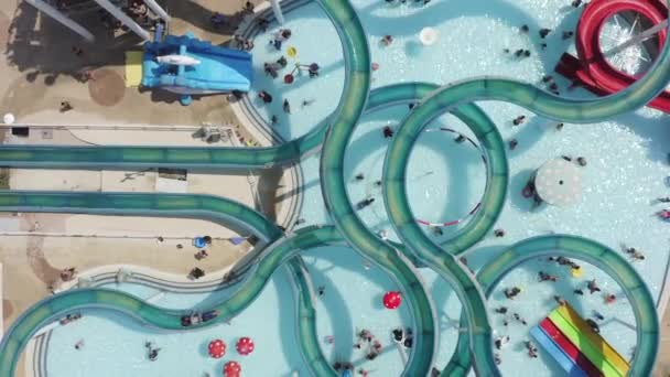 Aerial footage of a large and crowded Water park.