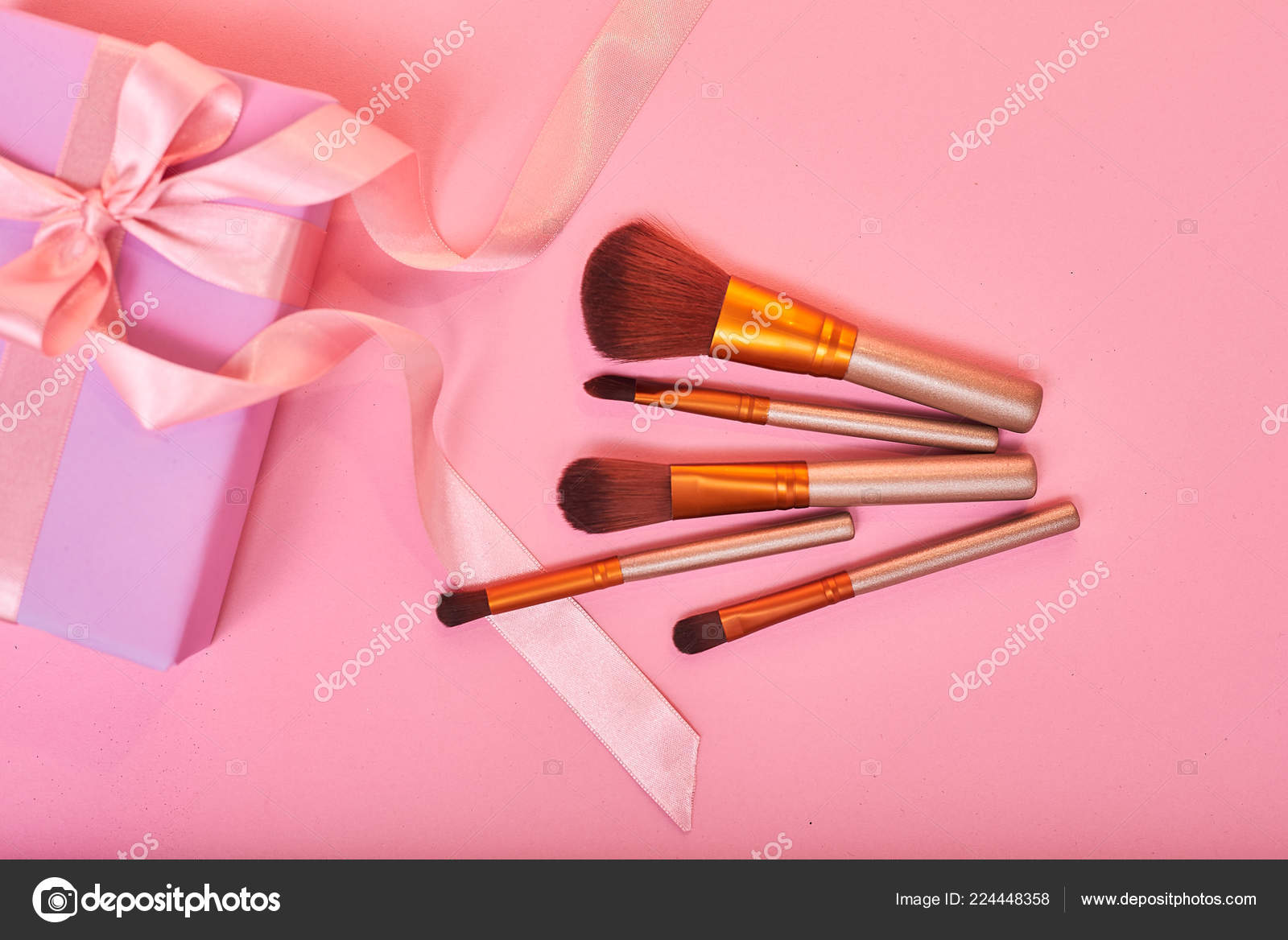 Gift Ideas Makeup Brushes Pink Gift Box Stock Photo C Stenkovlad 224448358