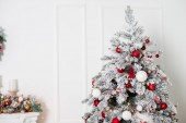beautiful christmas tree with shiny baubles and festive decorations, christmas background