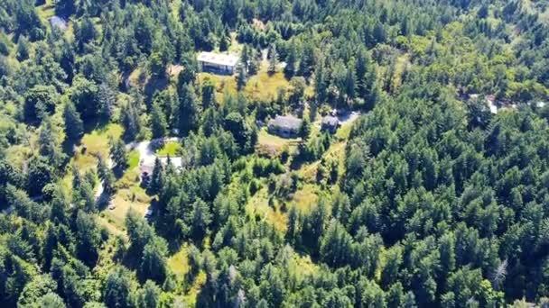 Repülj át a vidéki területeken a házak közepén a vad erdő