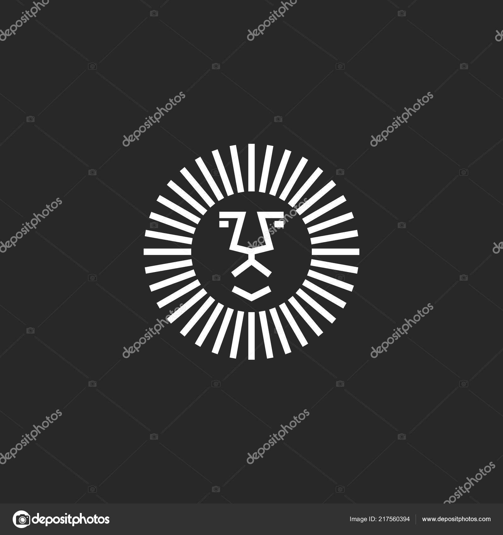 Lion Tete Forme Geometrique Symetrie Cercle Logo Maquette Modele