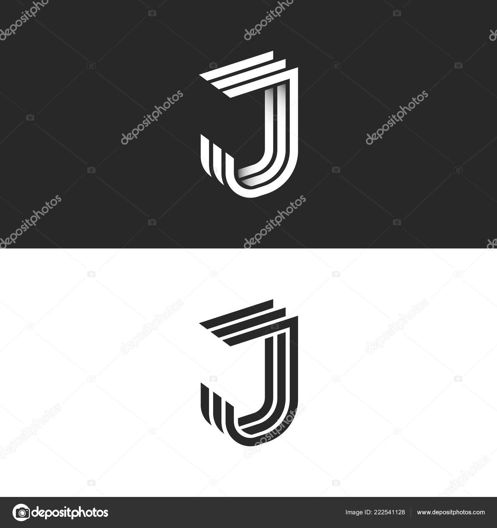 Logo Letter Isometric Font Initial Monogram Black White Geometric