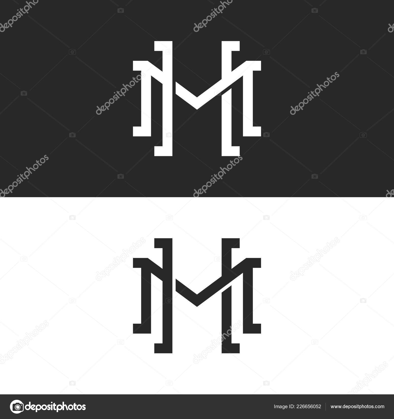 initials overlapping letters logo design two letters symbol emblem mockup stock vector