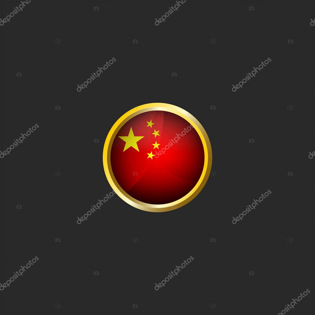 China Flag Logo Round 3d Prc Icon Glossy Glass Material And Golden Metal Frame Chinese National Colors Design Element Mockup Premium Vector In Adobe Illustrator Ai Ai Format Encapsulated