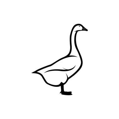 goose vector silhouette, farm logo