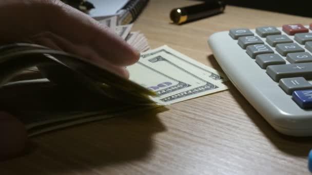 Muž počítání peněz a finančních kalkulací