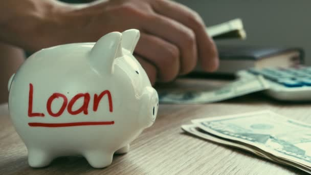 Půjčka na prasátko. Ruce jsou počítání peněz