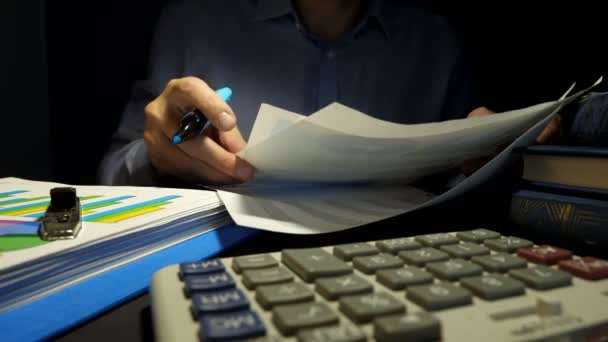 Man checking financial report or business documents. Auditor at the work.