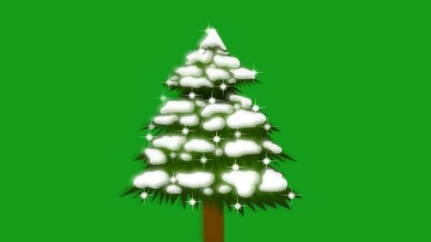 Zářící hvězdy na vánoční strom se zeleným pozadí obrazovky