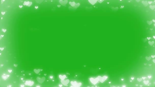 Zářící srdce rám pohybové grafiky se zeleným pozadí obrazovky