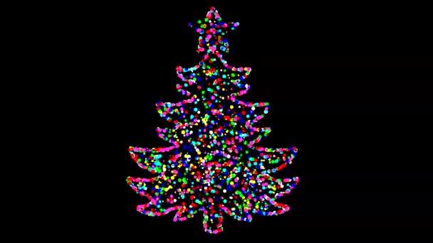 Színes karácsonyfa mozgás grafika éjszakai háttér