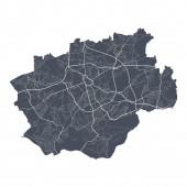 Bochum. Detaillierte Vektorkarte des Stadtbezirks Bochum. Stadtbild-Plakat Großstadtansicht. Dunkles Land mit weißen Straßen, Straßen und Alleen. Weißer Hintergrund.