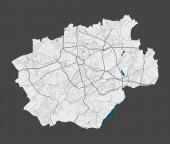 Bochum. Detaillierte Karte des Stadtgebiets von Bochum. Stadtpanorama. Lizenzfreie Vektorillustration. Lineare Übersichtskarte mit Autobahnen, Straßen, Flüssen. Dekorativer Stadtplan für Touristen.