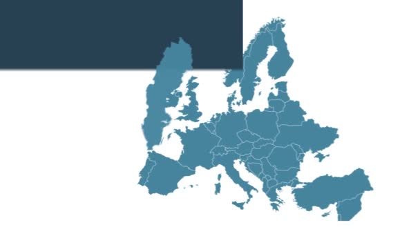 Švédsko mapuje animaci s mapou Evropy, největšími městy a textovým zástupcem. Šablona pro zprávy a vzdělávání. Royalty free 4K motion graphic animation. Modrobílá barva. Infographics plochého designu.