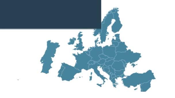 Portugalsko mapuje animaci s mapou Evropy, největšími městy a textovým zástupcem. Šablona pro zprávy a vzdělávání. Royalty free 4K motion graphic animation. Modrobílá barva. Infographics plochého designu.