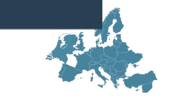 Nizozemská mapa animace s mapou Evropy, největšími městy a textovým zástupcem. Šablona pro zprávy a vzdělávání. Royalty free 4K motion graphic animation. Modrobílá barva. Infographics plochého designu.