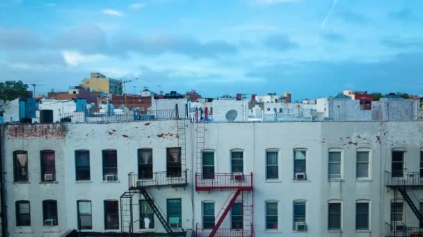 Brooklyn New York Time Lapse Rooftops Fire Escapes Stock Video