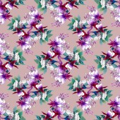 pattern in purple  flowers and hand-drawn leaves of watercolor  for invitations